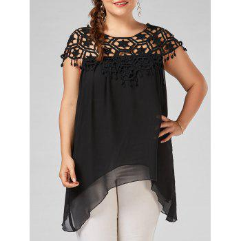 Asymmetrical Crochet Trim Chiffon Plus Size Tunic Top