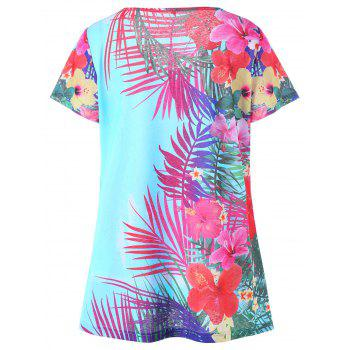 Plus Size Floral Hawaiian T-shirt - WINDSOR BLUE 2XL