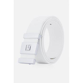 Stylish Letter G and Cut Out Design Buckle Men's Casual PU Belt - WHITE WHITE