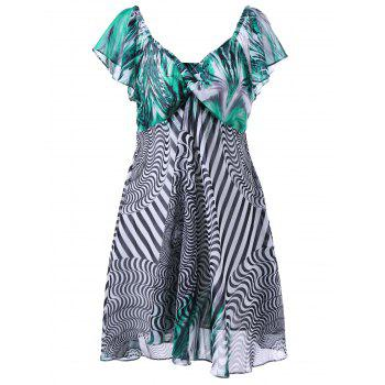 Plus Size Twist Bust Graphic Chiffon Dress