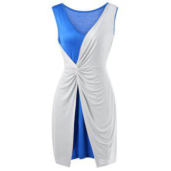 Plus Size Two Tone Twist Front Sleeveless Dress