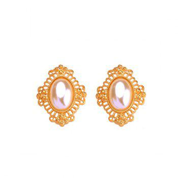 Faux Pearl Embellished Oval Earrings