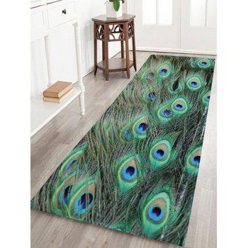 Peacock Feather Coral Velvet Non-slip Bath Rug