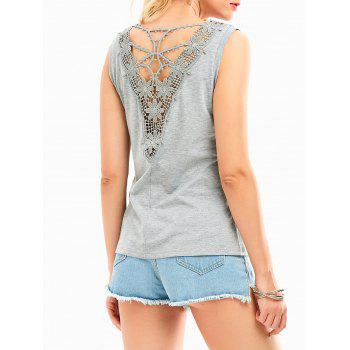 Hollow Out Lace Back Tank Top