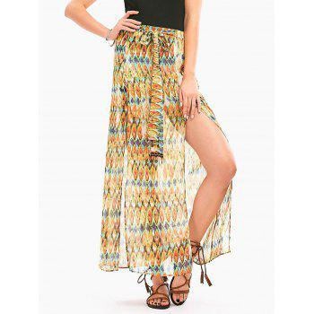 High Slit Snake Print Long Chiffon Skirt