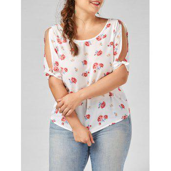 Split Sleeve Floral Plus Size Top