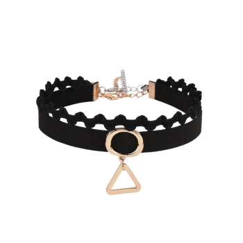 Faux Suede Triangle Oval Choker Necklace