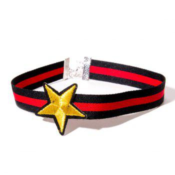 Striped Embroidery Star Choker Necklace
