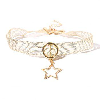 Mesh Alloy Circle Star Choker Necklace