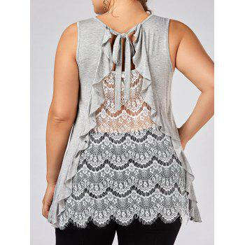 Ruffle Trim Plus Size Lace Panel Top
