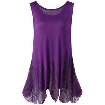 Plus Size Lace Trim Handkerchief Tank Top