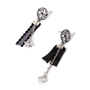 Vintage Rhinestone Triangle Floral Chain Earrings