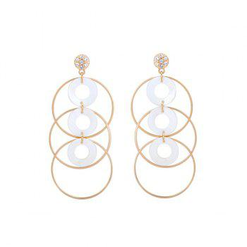 Rhinestoned Alloy Shell Circle Earrings