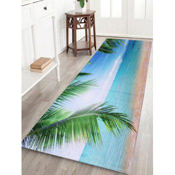 Coral Velvet Beach Scenery Long Bathroom Rug