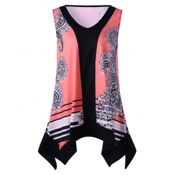 V Neck Printed Sleeveless Plus Size Top