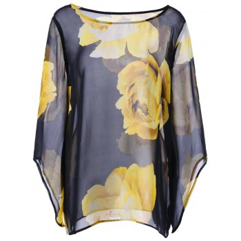 Floral Sheer Plus Size Dolman Sleeve Top
