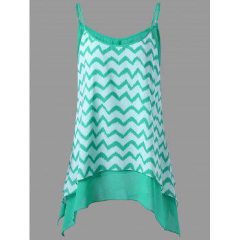 Zigzag Plus Size Asymmetrical Chiffon Cami Top