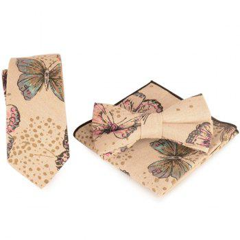 Necktie Handkerchief Bowtie Set with Butterfly Printing