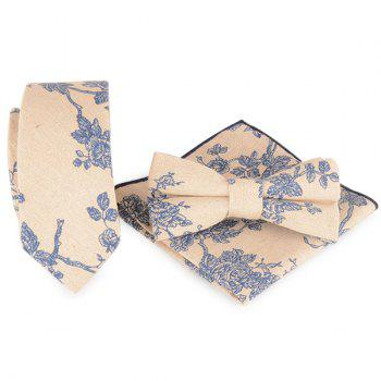 Flowering Branch Printing Necktie Handkerchief Bowtie Set