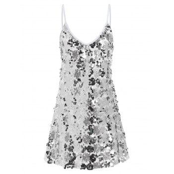 Shiny Sequins Glitter Slip Club Dress - SILVER M