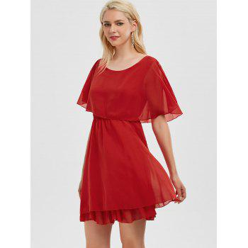 Ruffle Chiffon Cold Shoulder Mini Dress - Rouge M