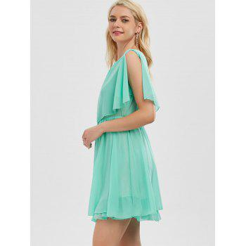 Ruffle Chiffon Cold Shoulder Mini Dress - M M