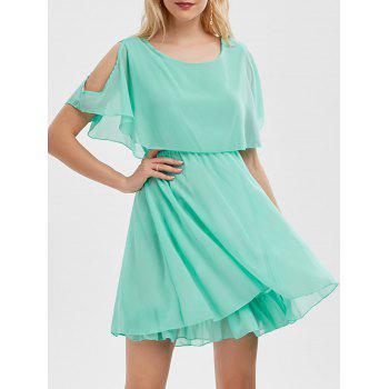 Ruffle Chiffon Cold Shoulder Mini Dress - LIGHT GREEN M