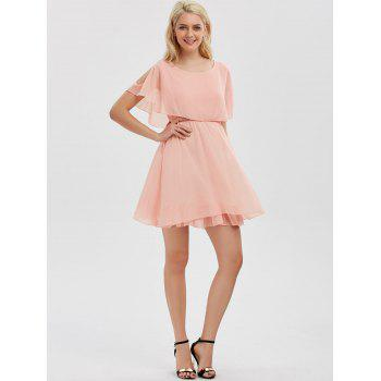 Ruffle Chiffon Cold Shoulder Mini Dress - ROSE PÂLE S