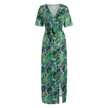 Bohemian Tropical Print Maxi Dress - GREEN S