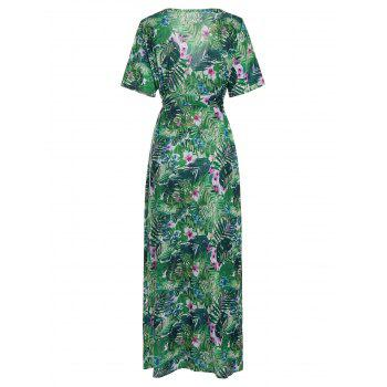 Bohemian Tropical Print Maxi Dress - S S