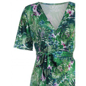Bohemian Tropical Print Maxi Dress - GREEN XL