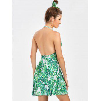 Leaf Print Cut Out Open Back Dress - L L