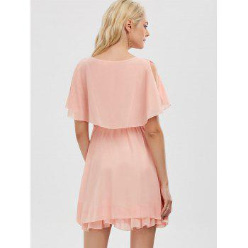 Ruffle Chiffon Cold Shoulder Mini Dress - PINK M