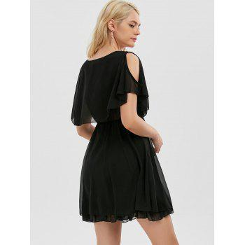 Ruffle Chiffon Cold Shoulder Mini Dress - Noir XL