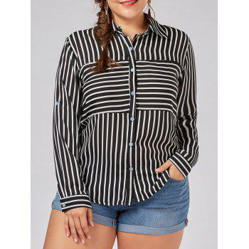 Plus Size Button Up Vertical Stripe Shirt