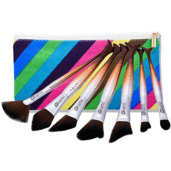 Mermaid Tail Makeup Brushes Set With Stripes Brush Bag