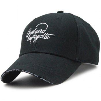 Outdoor Letters Embroidered Baseball Hat - BLACK BLACK