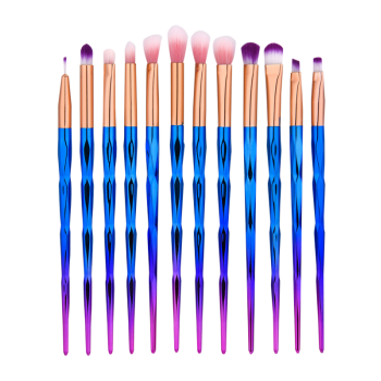 12Pcs Diamond Design Ombre Handle Eye Makeup Brushes Set