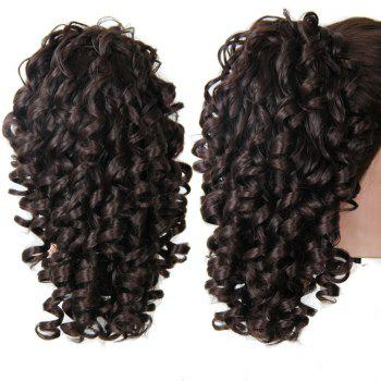 Shaggy Kinky Curly Medium Ponytail Hair Pieces - BLACK AND BROWN BLACK/BROWN