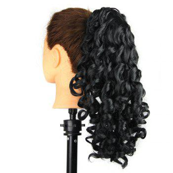 Shaggy Kinky Curly Medium Ponytail Hair Pieces - JET NOIR