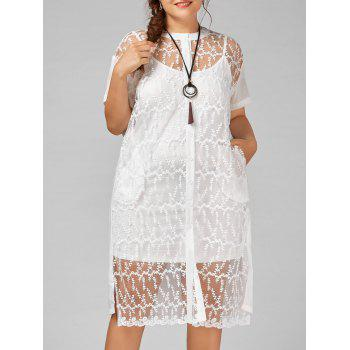 Embroidered Button Up Plus Size Dress with Cami Dress