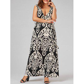 Sleeveless Plunging Neck Print Plus Size Long Dress