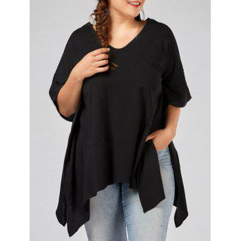 Plus Size V Neck Batwing Sleeve Slit Swing T-shirt