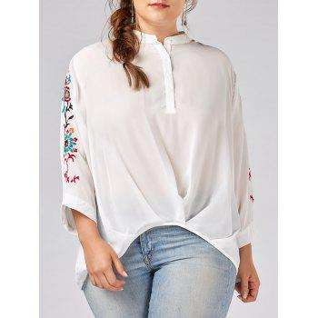 Plus Size Button Embroidered Chiffon Blouse