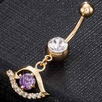 Artificial Gemstone Hollow Out Eye Navel Button -  PURPLE