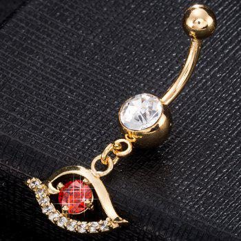 Artificial Gemstone Hollow Out Eye Navel Button - RED RED