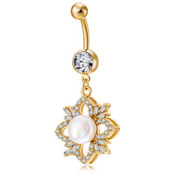 Artificial Pearl Rhinestone Flower Design Navel Button