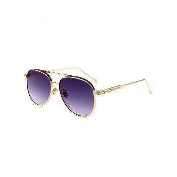 Metallic Double Crossbar Anti UV Pilot Sunglasses