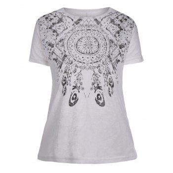 Tribal Print Sheer Graphic Tee