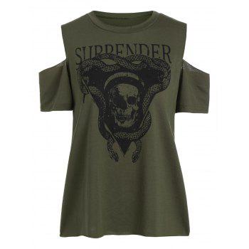 Cold Shoulder Skull Print T-Shirt